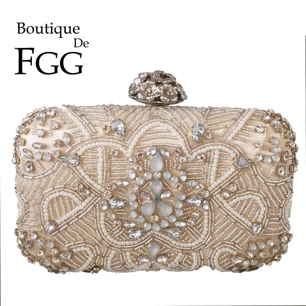 Boutique De FGG Formal Dinner Women Beaded Evening Bags Diamond Bridal Clutch Wedding Handbags Ladies Party Cocktail Purses Bags