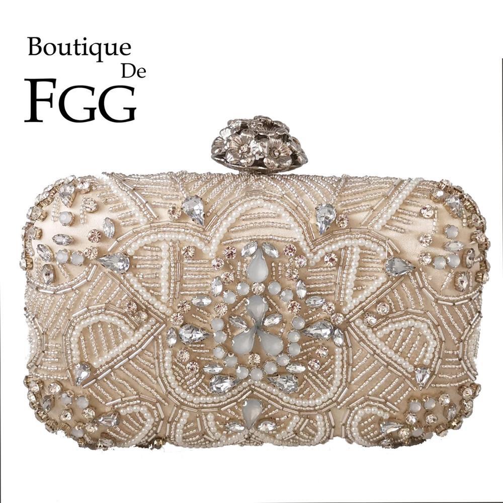 Boutique De FGG Formal Dinner Women Beaded Evening Bags Diamond Bridal Clutch Wedding Handbags Ladies Party Cocktail Purses Bags