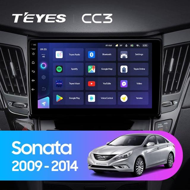 TEYES CC3 Штатная магнитола For Хендай Соната For Hyundai Sonata 6 YF 2009 - 2014 до 8-ЯДЕР, до 6 + 128ГБ 27EQ + DSP carplay автомагнитола 2 DIN DVD GPS android 10 мультимедиа автомобиля головное устройство 2