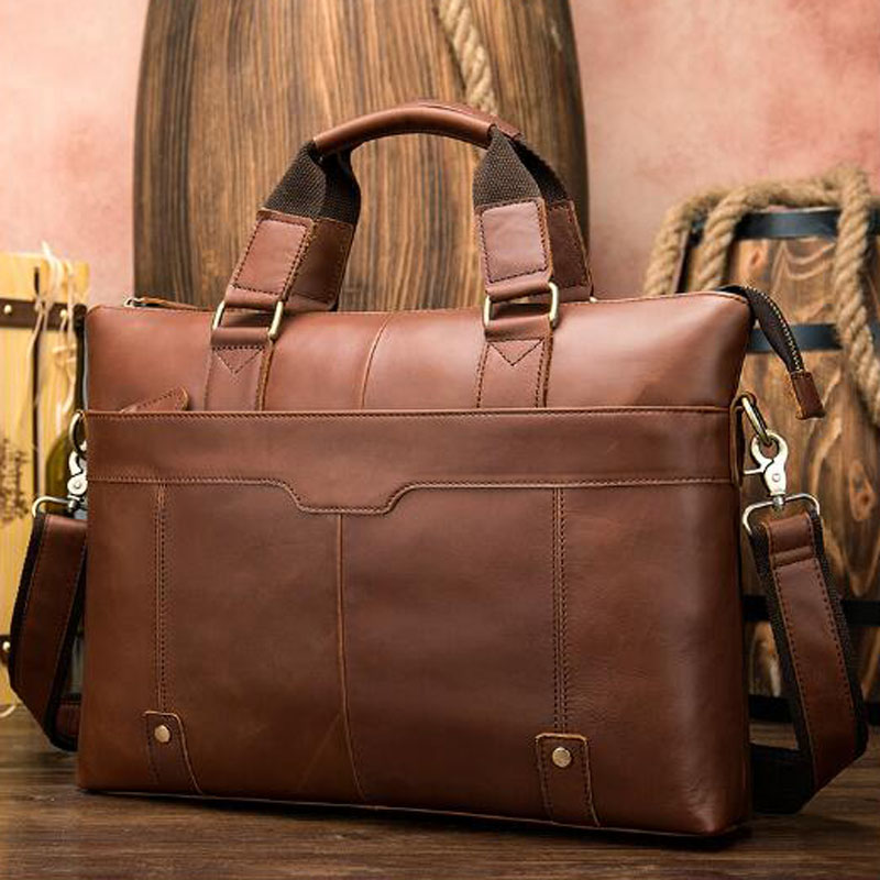 Men's Simple Fashion Bag  Genuine Leather Briefcase Male Bag Natural Leather For Men Messenger Bags Men's Briefcases