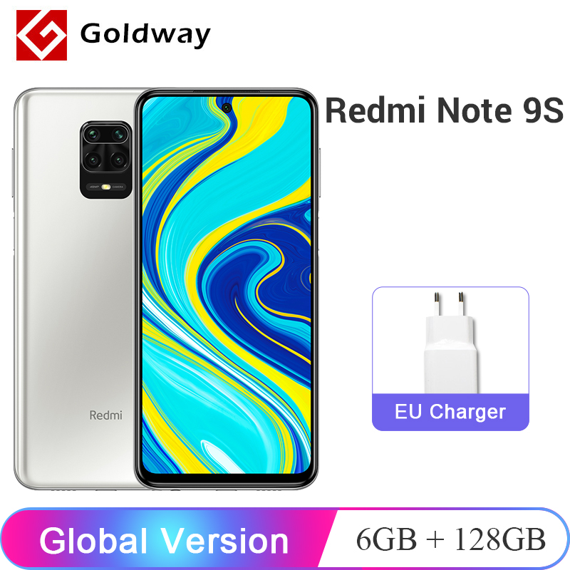 Глобальная версия Xiaomi Redmi Note 9S 6 ГБ ОЗУ 128 ГБ ПЗУ Мобильный телефон Snapdragon 720G Восьмиядерный 48Мп Четыре камеры 6.67