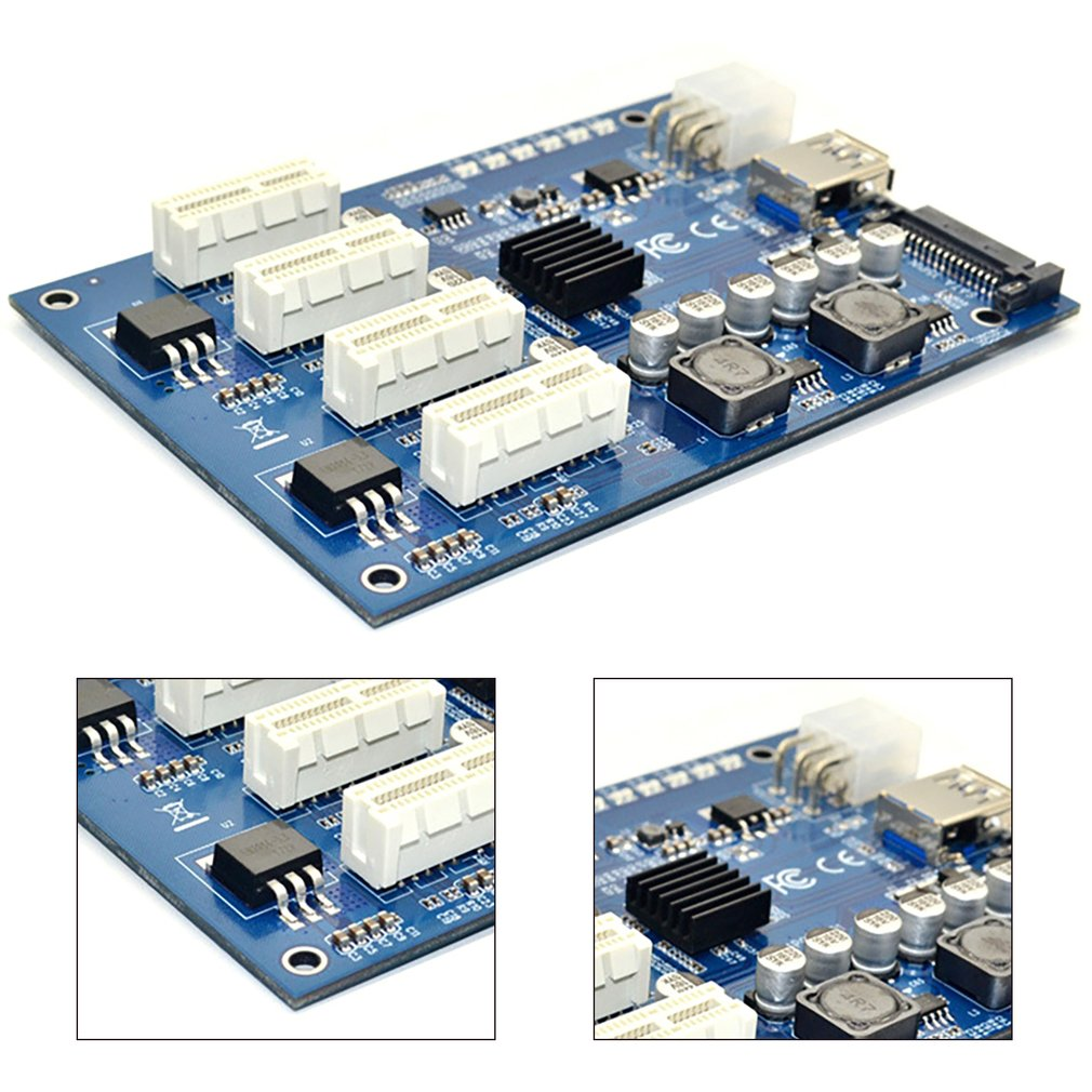 PCIe to PCI Express 1to 4 Slot Riser Card Mini ITX to External 4 PCI-e Adapter Port Multiplier Card for Miner BTC 2