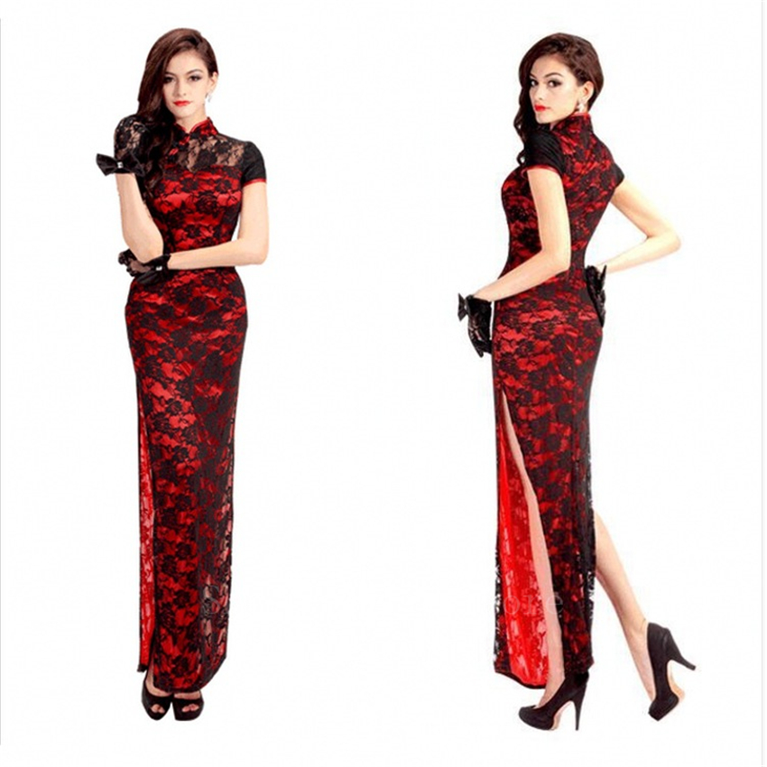 Sexy Woman Chinese Cheongsam Elegant Lace Traditional Qipao New Year Evening Party Oriental Vintage Split Wedding Dress