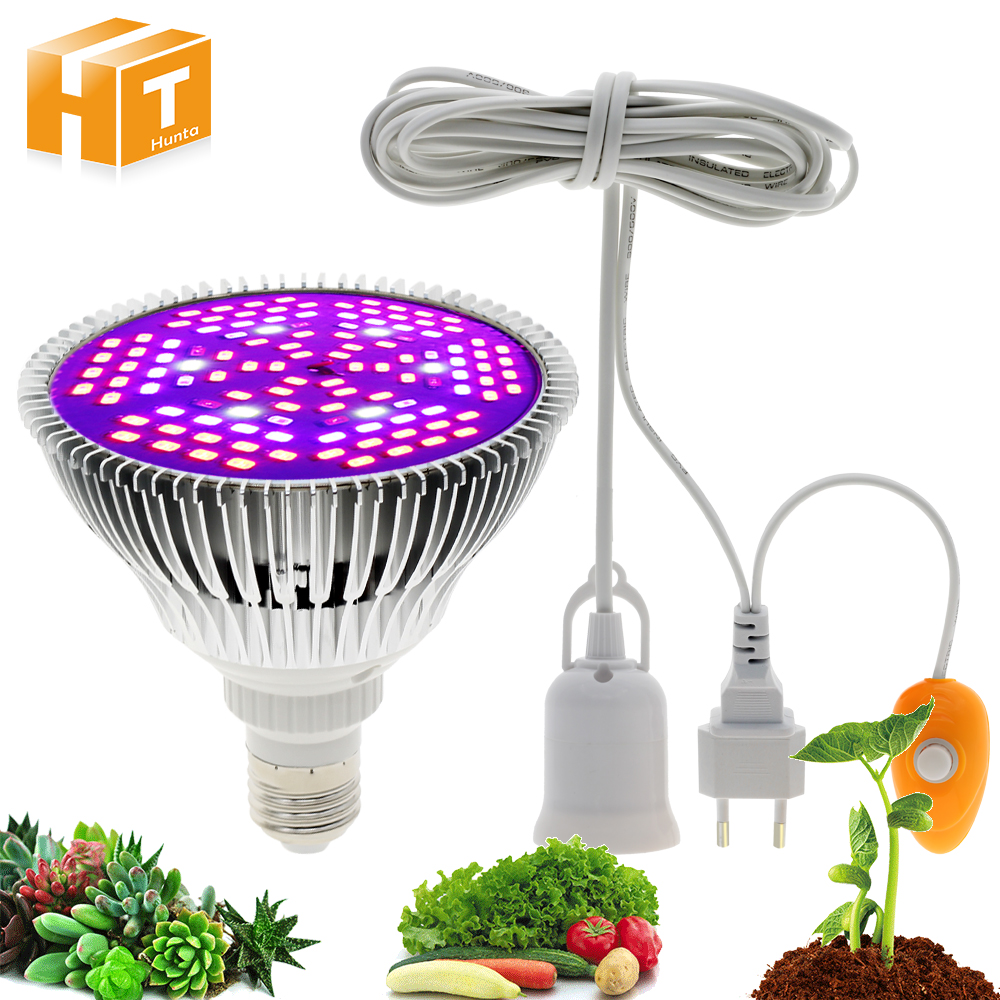 LED Growth Lamps 220V E27 Full Spectrum Grow Light Bulb 30W 50W 80W LED Phyto Lamp For Greenhouse Hydroponic Plant Growing.