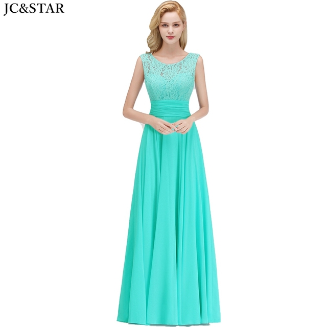 Vestido madrinha new lace chiffon Scoop ALine turquoise bridesmaid dress long vestidos invitada boda mujer cheap robe de mariee