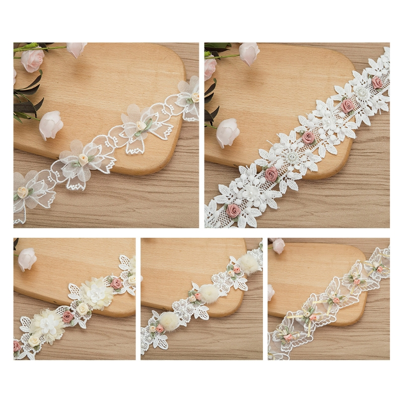 1 Yard Rose Flower Embroidery Lace Trim Ribbon Vintage Faux Pearl Beaded Appliques Bridal Ornaments DIY Sewing Supplies