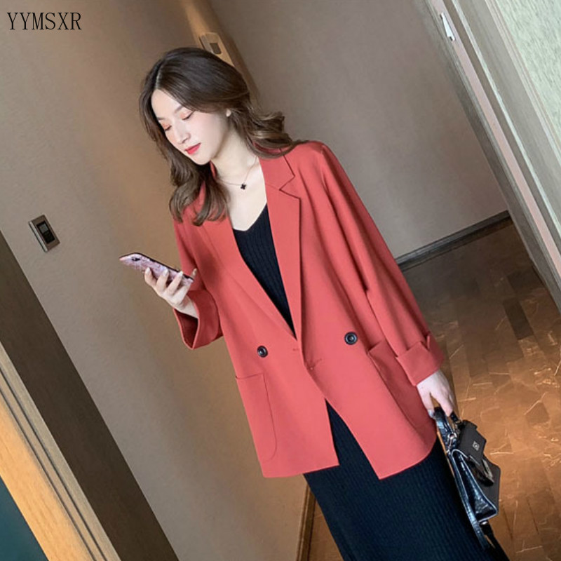 2020 new high-quality casual women's jackets feminine small suits Stylish Double Breasted Loose Ladies Blazer Coat Female