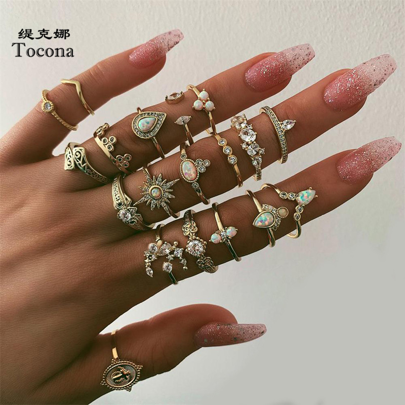 Tocona 19 pcs/sets Bohemian Gold Rings Sun Badge Water Drop Shiny Crystal Stone Geometry Women Jewelry Anillos Mujer 8903-in Rings from Jewelry & Accessories on AliExpress