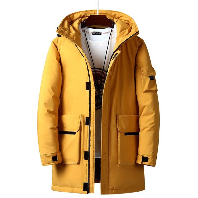 New Winter Jacket Coat For Men Tooling Big Hat Casual Fashion Youth Warm Long Coat Kleding Doudoune Homme