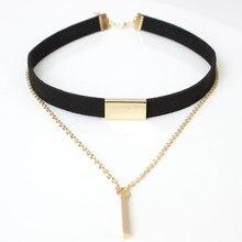 2021 nouveau collier ras De cou En Velours Noir Bande corde Chaîne tube Carré bande ras du cou Femmes collier mujer collier femme ras du cou
