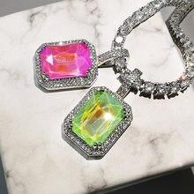 Bling multicolorido quadrado pingente colar para presentes femininos mocca cores aaa zircon colar hip hop jóias