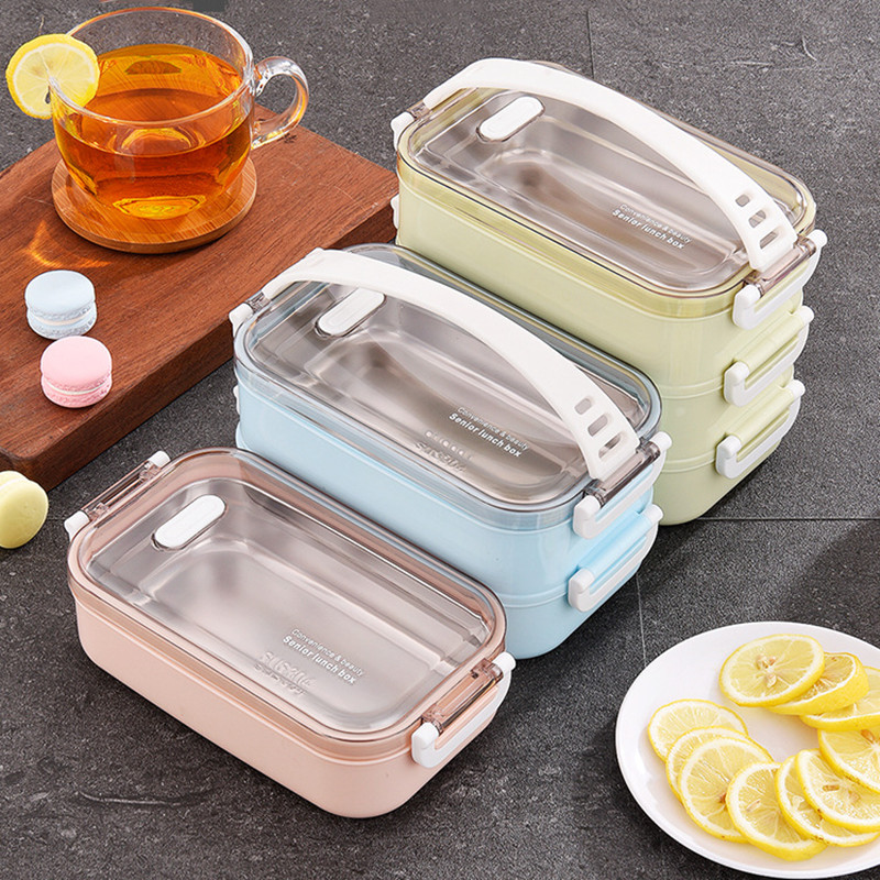 3 Layers Stainless Steel Lunch Box With Rope Leak-proof Bento Boxes Microwave Oven Dinnerware Set