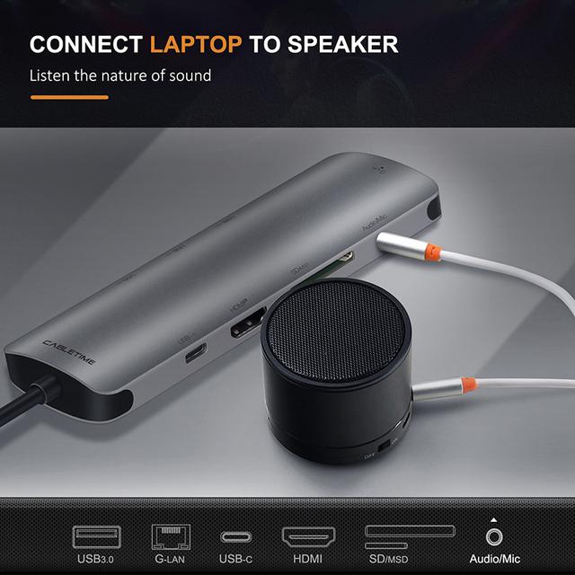 CABLETIME USB C HUB to Multi USB 3.0 HDMI Adapter Dock for MacBook Accessories 9in1 USB-C Type C 3.1 Splitter 3 Port HUB C042