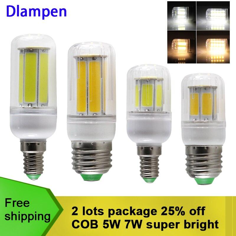 Bombilla led milho bulbo COB 5W 7W E27 E14 vela holofotes iluminação doméstica 110v 220v de energia lâmpada de poupança de luz de alta qualidade E 27