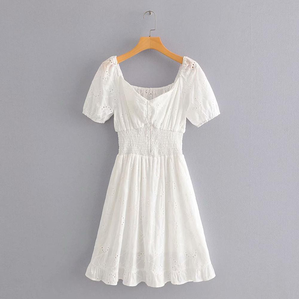 women sexy elastic waist slash neck white mini dress chic female hollow out embroidery casual slim vestidos party dresses DS3707