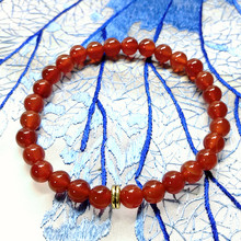 Nature Carnelian 6 mm Round Beads Women Bracelet 18.5-19 cm
