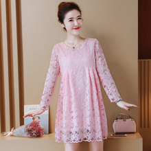 Autumn Fashion New 2019 Hollow Out Elegant White Lace Party Dress High Quality Women Long Sleeve Casual Dresses 685E