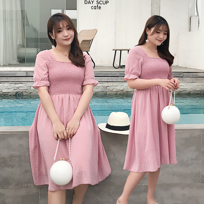 Large Size Summer New Style Dress 200 Of Fat Mm Korean-style Versatile Pleated Short Sleeve Backless Slimming Long Skirts 2006