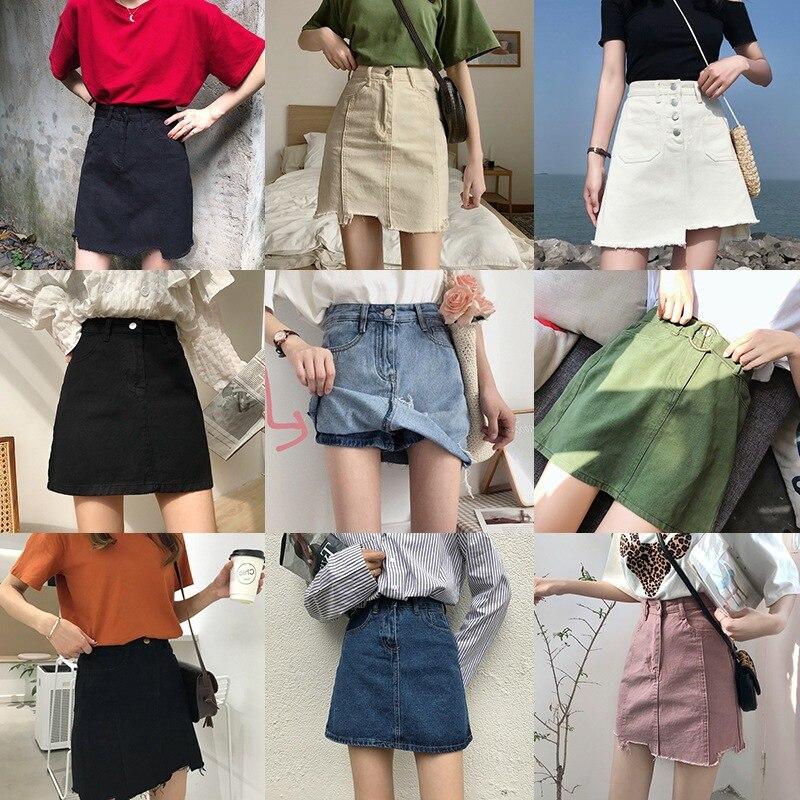 Sesión de fotos primavera ropa estilo coreano de cintura alta adelgazamiento Retro a line falda Culottes Denim Falda falda 2019 nuevo estilo Sho - 2