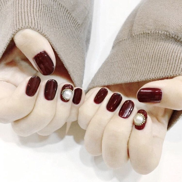 610-round Red Coffee Pearl Literature And Art Online Celebrity Style INS-Style Solid Color Fake Nails Finished Product Wear Mani