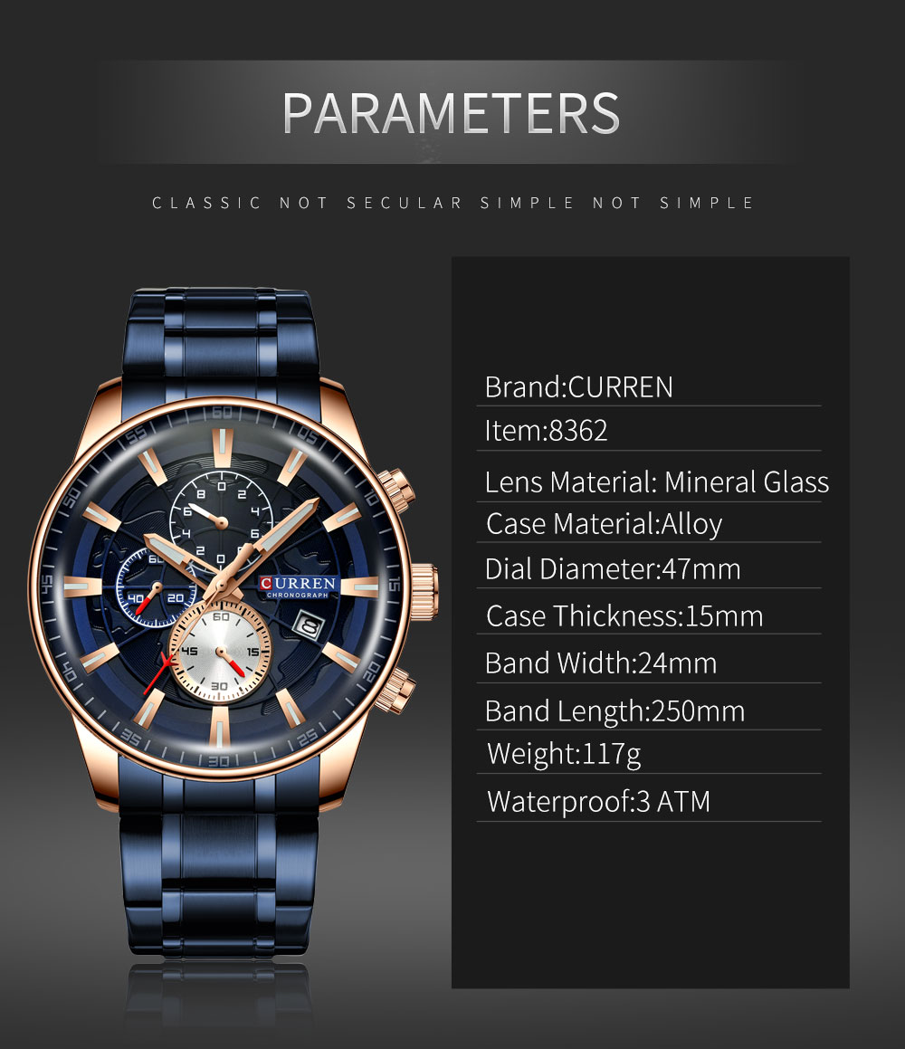 H11d3c4fbe9264f83be19414723dc9561V Men's Watches CURREN Top Luxury Brand Fashion Quartz Men Watch Waterproof Chronograph Business Wristwatch Relogio Masculino