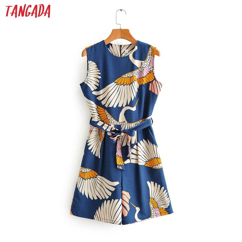 Tangada Fashion Women Birds Print Summer Playsuit Back Zipper Short Sleeve Female Casual Beach Playsuit 2F55