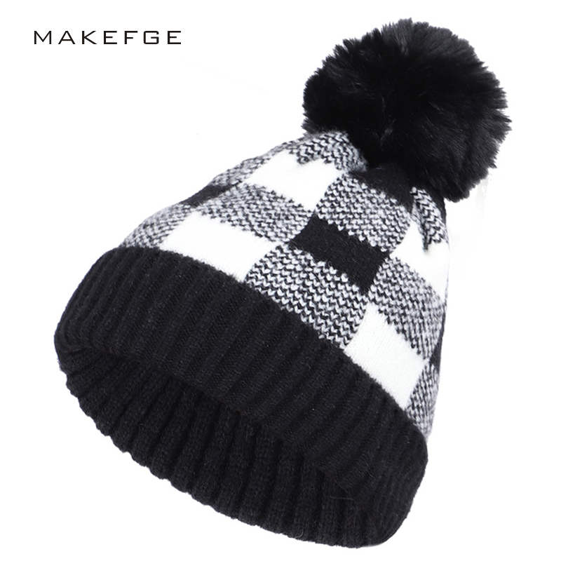 Men's/Women's Pompon Knit Cap Winter Warm Hat Plaid Casual Beanie Cotton Cap Skiing Woman Mask Hat Hat Girl Winter Hat Headwear