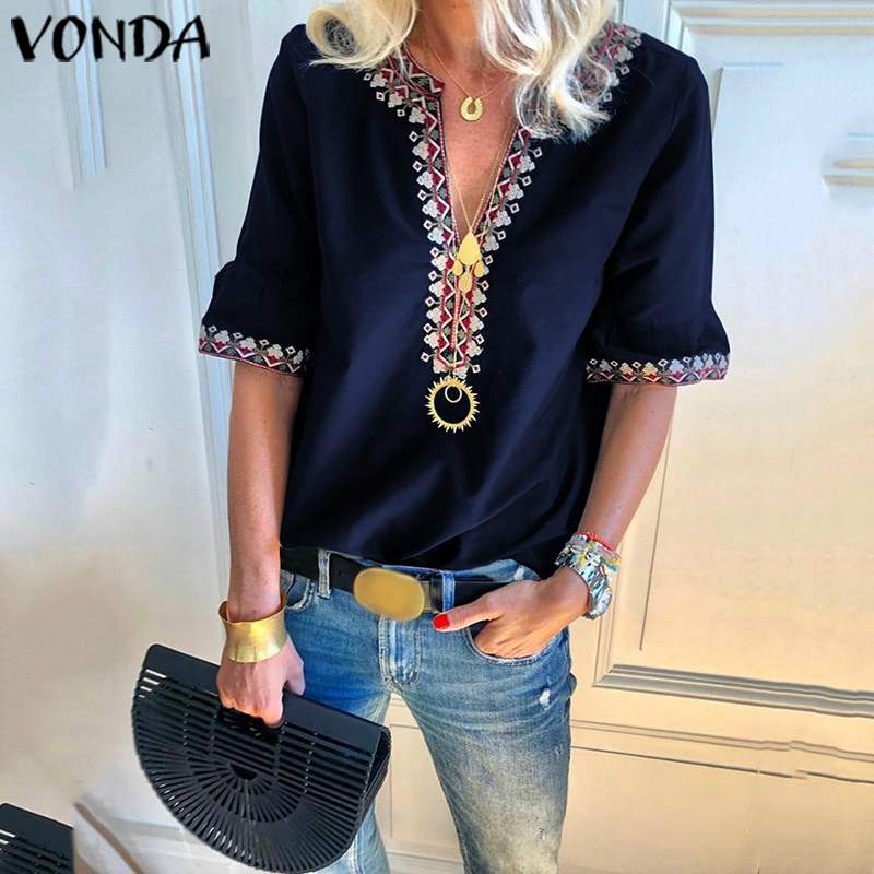 VONDA Vintage Short Sleeve Shirts Women Blouses 2019 Summer Sexy V Neck Printed Tunic Casual Loose Ladies Office Tops And Blouse
