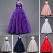 Vintage Flower Girls Dress for Wedding Evening Children Princess Party Pageant Long Gown Kids Dresses for Girls Formal Clothes little girl party dress ball gowns for children girls pageant gown dresses bridesmaid formal clothing kids pink princess clothes