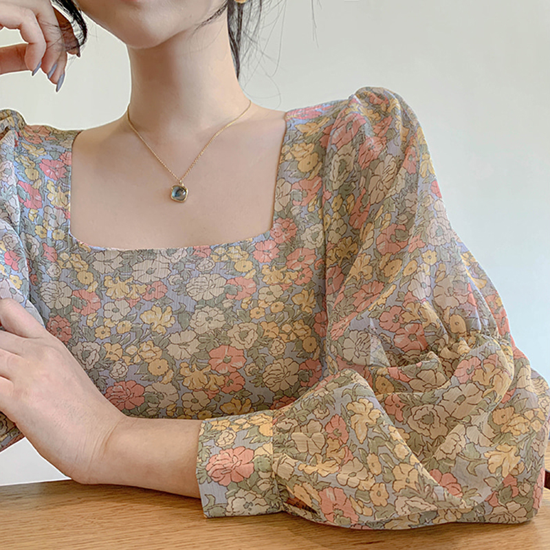 Square Neck Top Floral Blouse Chiffon Lantern Long Sleeve Blusas Elegante Mujer De Moda 2020 Korean Fashion Clothing Vintage