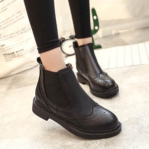 2019 Slip On Elastic Band Rubber Boots Winter Arrival Ankle Chelsea Boots Women Shoes Autumn Square Heel Female Footwear49