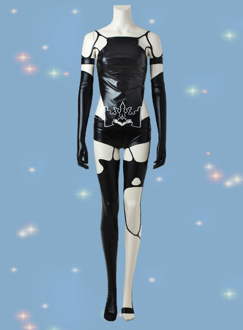 Game NieR Automata A2 Cosplay <font><b>Costume</b></font> YoRHa Type A No. 2 <font><b>Sexy</b></font> Cosplay Outfit Women <font><b>Halloween</b></font> Black Suit Custom Made image