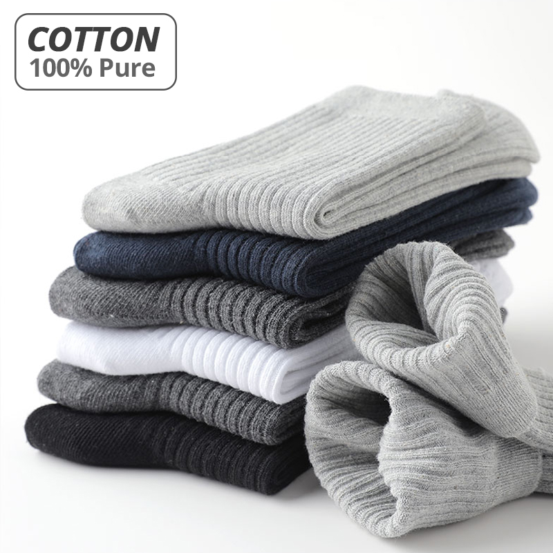 HSS Brand 2020 New 100% Pure Cotton Men Socks Casual Business Stripe Deodorant Breathable Man Travel Winter Sock 5 Pairs / Lot