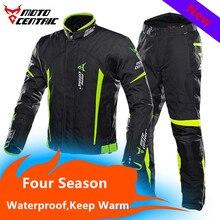 Revestimento Da Motocicleta inverno mantenha quente e respirável dupla camada impermeável Ternos de corrida de Motocross com pcs protetores de 7 пиджак