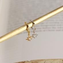 Real 925 Sterling Silver Geometric Bead Rivet Earrings for Women Round Anise stars small Hoop Earrings INS ear Jewelry A30 pair of graceful faux gem rivet geometric earrings for women