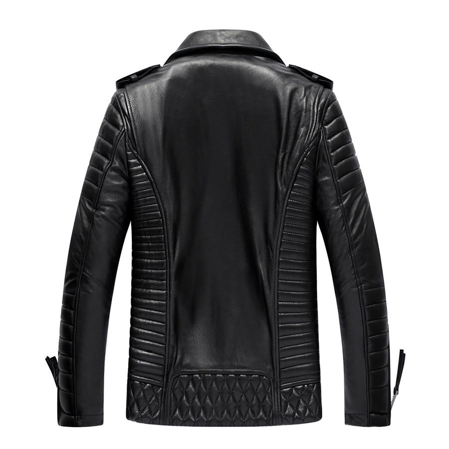 Genuine Jacket Men Quality Sheepskin Leather Bomber Jackets Spring Autumn Motocycle Plus Size 19-215 MF606