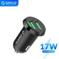 ORICO 듀얼 USB 차량용 충전기 2.4A 지능형 출력 17W 여행 충전기 휴대 전화 시가 라이터 DC 12-24V