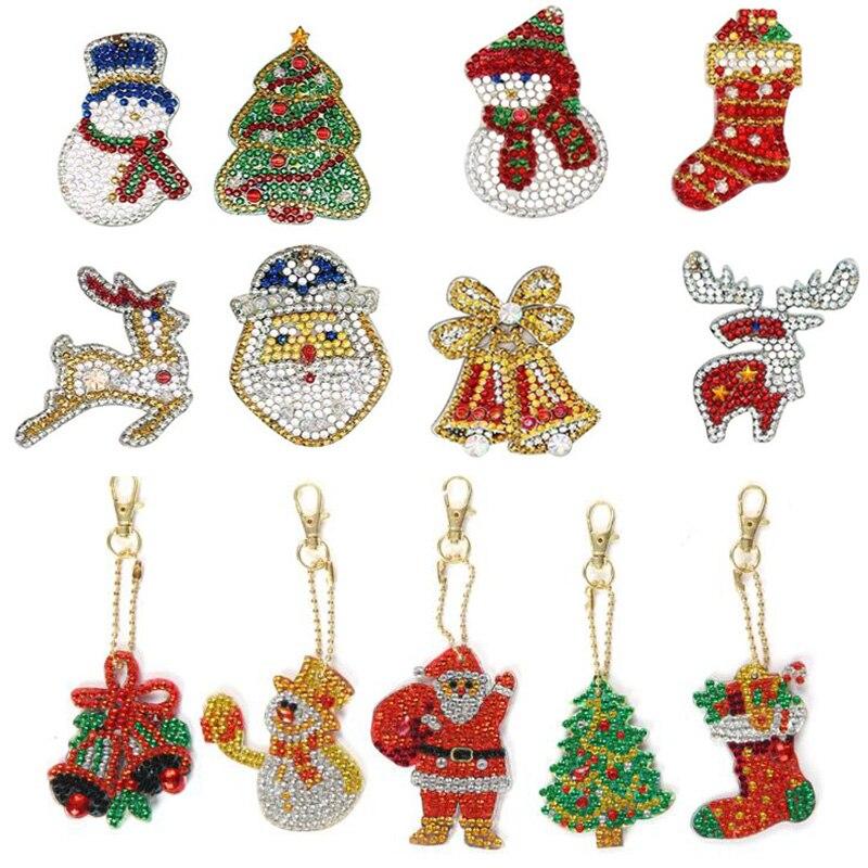 LLavero de pintura de diamante con forma especial para decoración navideña, llavero con forma de taladro completo, bolsa colgante, joyería, regalos del anillo