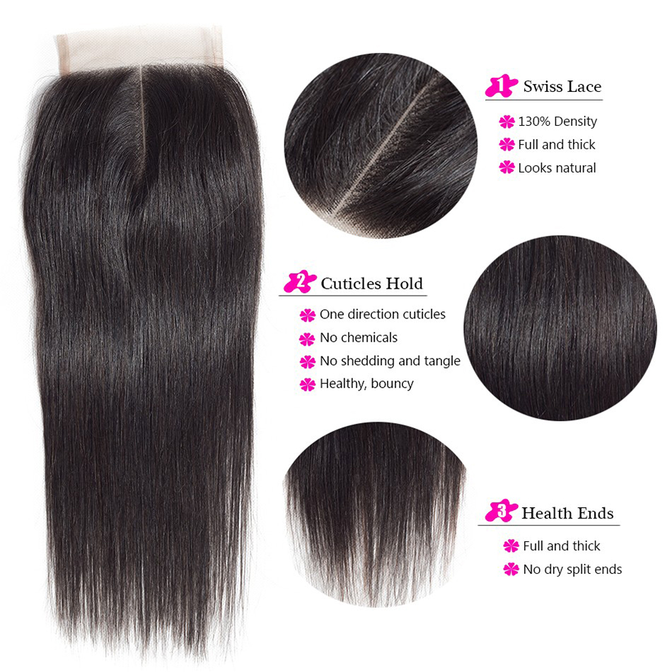 NAFUN Hair Bundles Straight Weave Brazilian Human Hair Bundles With Closure 8-30 Inch Bundles Human Hair Bundles Non Remy Hair