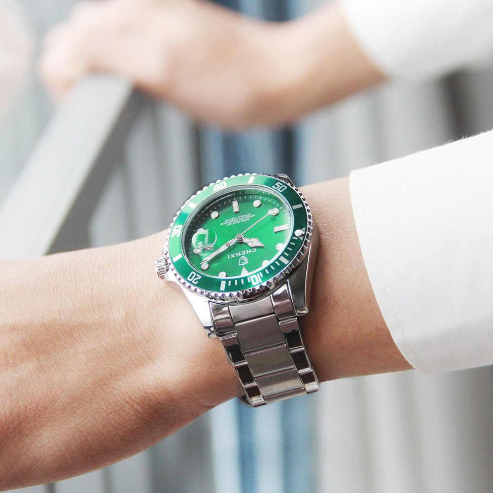 Chenxi 高級シルバー男性は、古典的なグリーンステンレス鋼日本運動防水カジュアルビジネス男のスポーツ腕時計