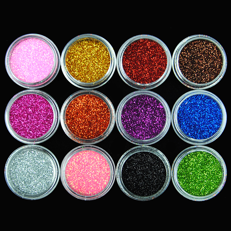 25/12 Colors Body Glitter Acrylic Powder Dust Nail Sequin Manicure Decoration Tattoo Body Glitter Powder Shimmer Nail Art Beauty