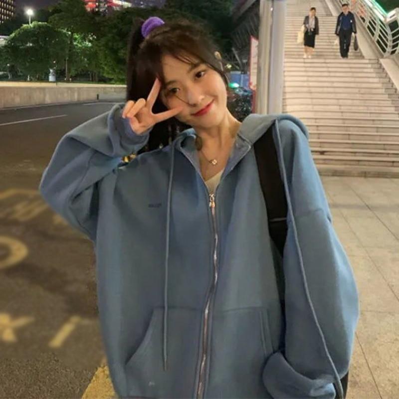 Zip-up Women Korean Style Hoodies Vintage Solid Color Long Sleeve Oversized Hooded Sweatshirt Lady Women Casual Large Coats 1