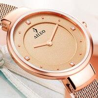 새로운 프랑스 럭셔리 브랜드 ailuo 여성용 쿼츠 무브먼트 다이아몬드 사파이어 시계 6 mm 초박형 50 m 방수 시계 a7601 여성용 시계    -