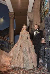 Image 4 - Luksusowy kryształ zroszony suknie ślubne syrenka z odpinanym pociągiem Sexy długie rękawy na szyję arabski suknia ślubna Mulslim
