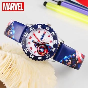 Marvel Avengers Captain America Iron Men Children Blue Red PU Band Quartz Waterproof Watches Disney Buckle Analog Wristwatch Kid