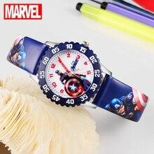 Marvel Мстители Капитан Америка Железный человек Дети синий красный PU ремешок Кварцевые водонепроницаемые часы Disney Пряжка аналоговые наручные часы для детей