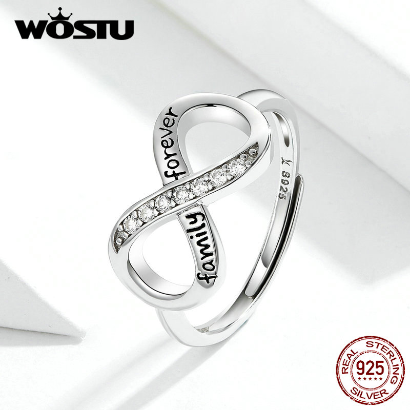 WOSTU 100% Real 925 Sterling Silver Infinite Love Rings For Women Zircon S925 Cross Ring Wedding Engagement Jewelry Gift FIR579