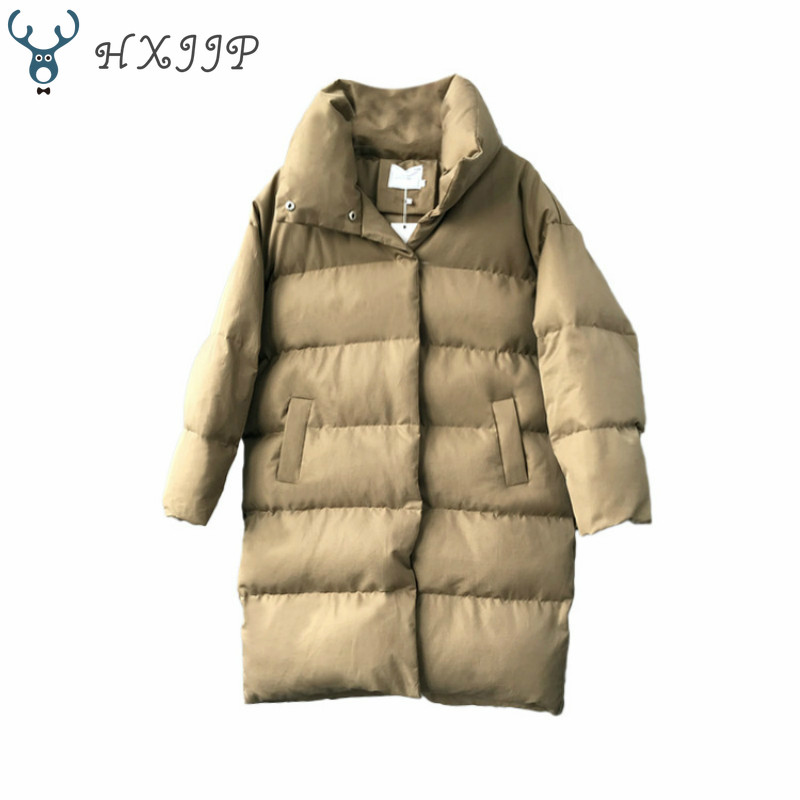 HXJJP Thick Jacket Women Winter 2019 Outerwear Coats Female Long Casual Warm Oversize puffer jacket Parka