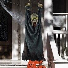 Хэллоуин украшение висящий труп жуткий звук и светящиеся глаза реквизит