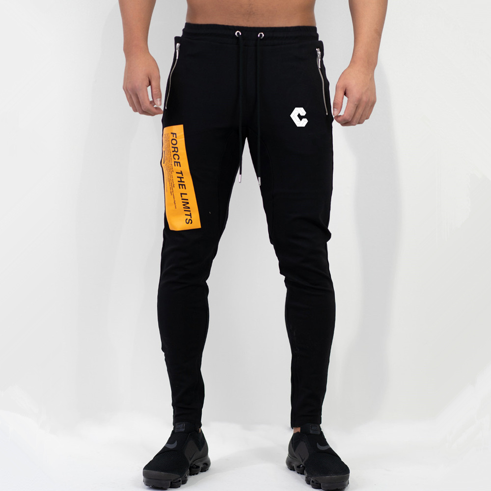 Skinny Pants Joggers Trousers Male Sporty Fitness Mens Fashion Gyms Workout Cotton Casual